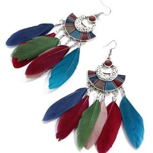 Boho Fan Shaped Multi-Color Feather Earrings